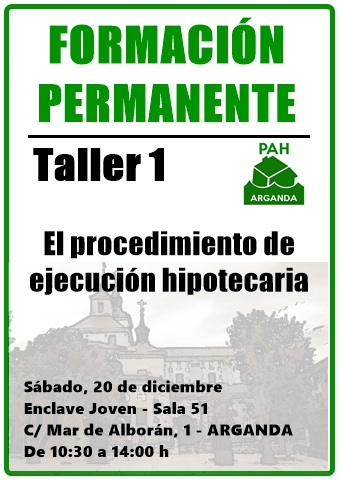 Taller Formación PAH Arganda @ Enclave Joven  | Arganda | Comunidad de Madrid | España